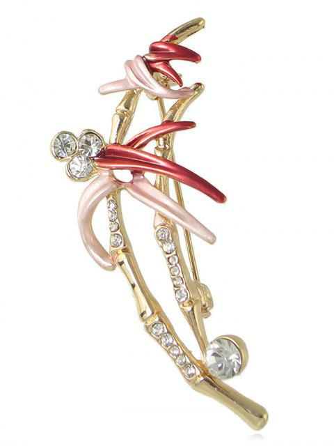 Broche Design Pulvérisation de Fleurs et Strass - Rouge  Mobile