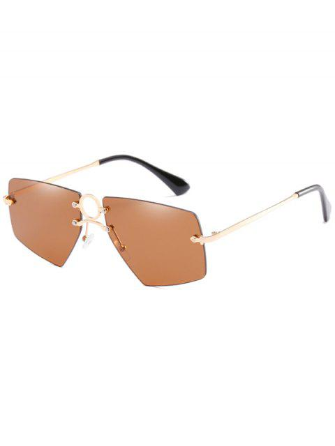 sale Stylish Hollow Out Ring Rimless Sunglasses - CAMEL BROWN  Mobile