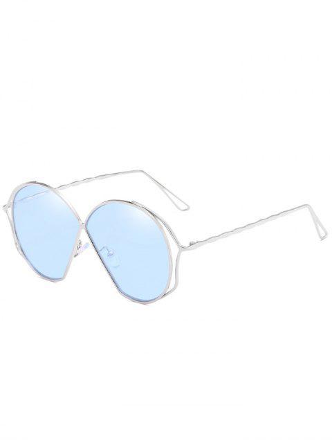 affordable Metal Frame Irregular Flat Lens Novelty Sunglasses - DAY SKY BLUE  Mobile