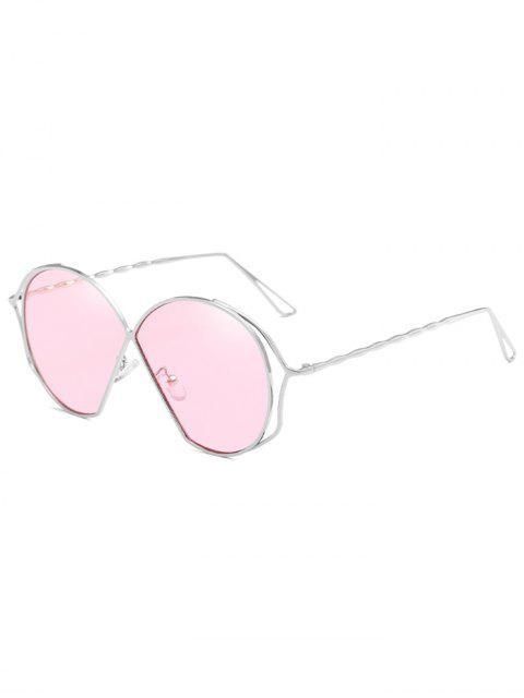 ladies Metal Frame Irregular Flat Lens Novelty Sunglasses - PIG PINK  Mobile