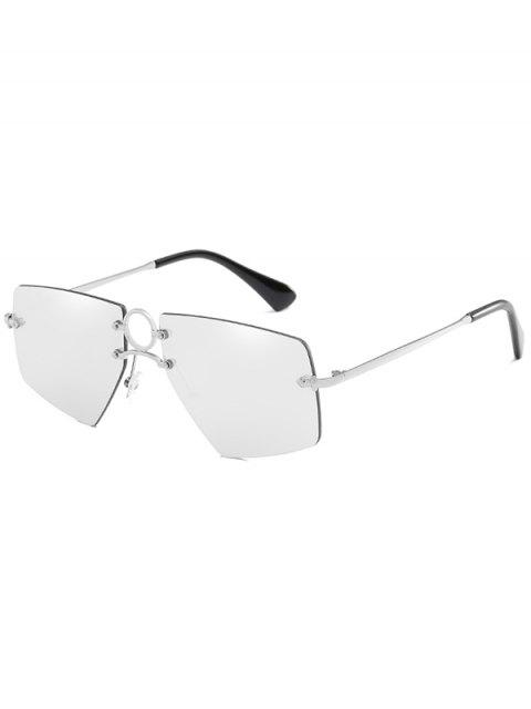 fashion Stylish Hollow Out Ring Rimless Sunglasses - PLATINUM  Mobile