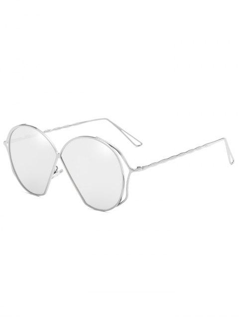 sale Metal Frame Irregular Flat Lens Novelty Sunglasses - PLATINUM  Mobile