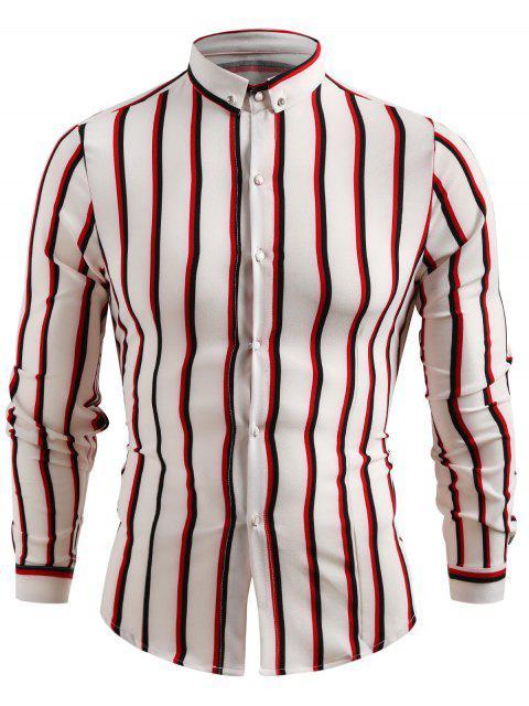Camisa casual con botones a rayas - Blanco 2XL Mobile