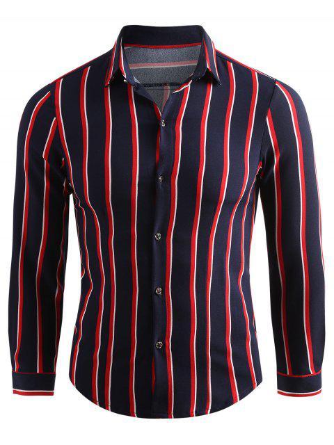 online Striped Button Down Casual Shirt - CADETBLUE XL Mobile