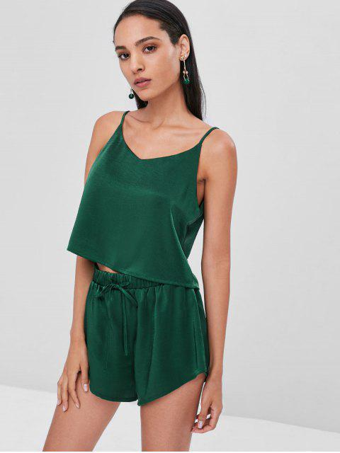 latest Cami Plain Top and Shorts Set - MEDIUM SEA GREEN S Mobile