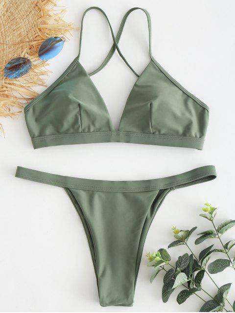 lady Cross Strap String Bikini - CAMOUFLAGE GREEN M Mobile
