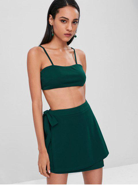 hot Cami Knotted Overlap Skirt Set - MEDIUM SEA GREEN S Mobile
