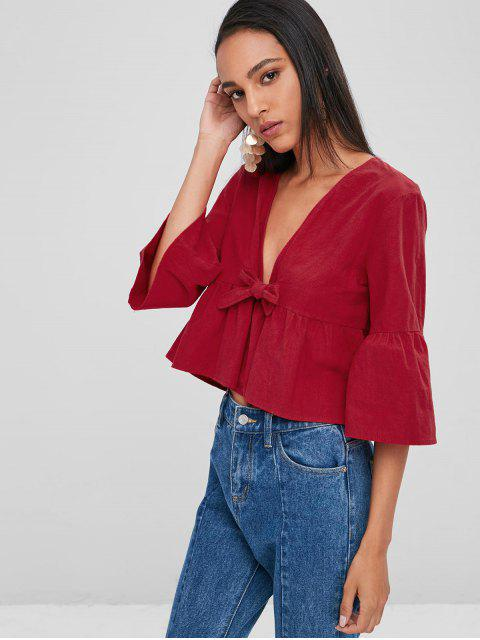 women Loose Knotted Blouse - CHERRY RED L Mobile