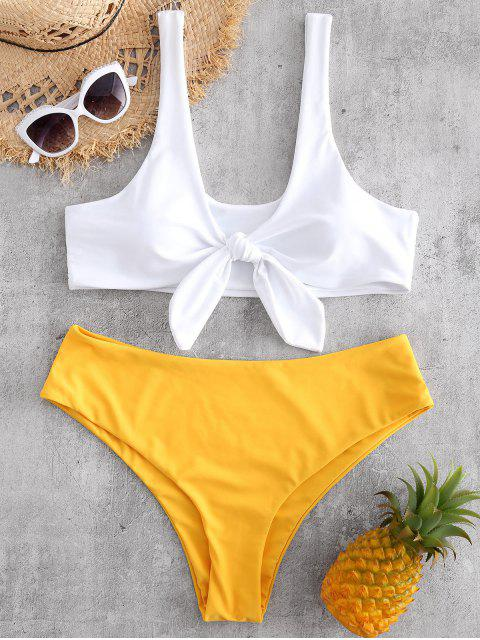 new Knot Plus Size Tank Bikini Set - BRIGHT YELLOW 2X Mobile