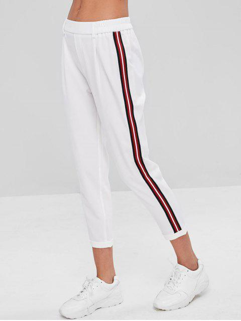 lady Stripes Patched Rolled Hem Pants - WHITE M Mobile