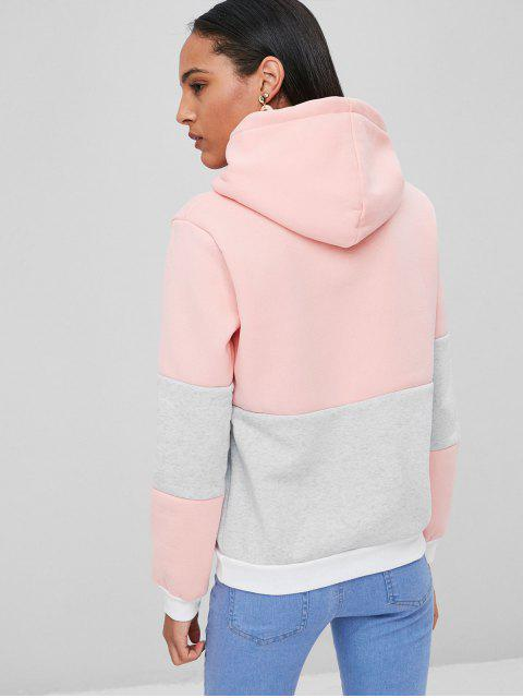 women's Color Block Hoodie With Pockets - LIGHT PINK S Mobile
