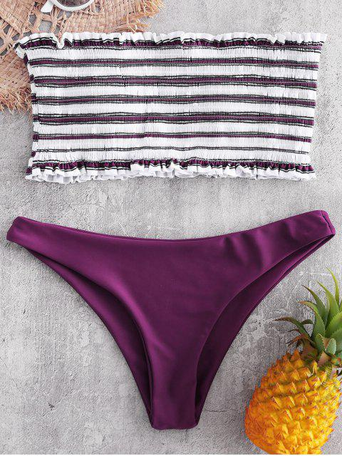 latest Stripe Smocked Bandeau Bikini Set - DARK CARNATION PINK M Mobile