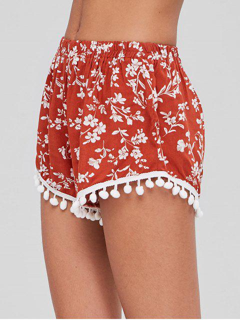 Short Floral à Bordure en Crochets - Châtaigne Rouge Taille Unique Mobile