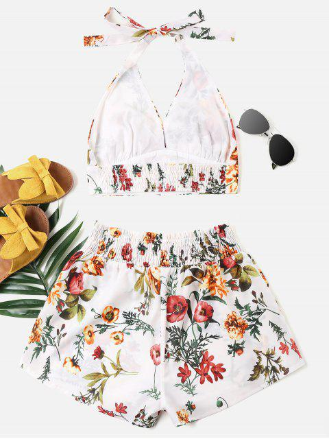 shop Print Halter Top and Shorts Set - WHITE M Mobile