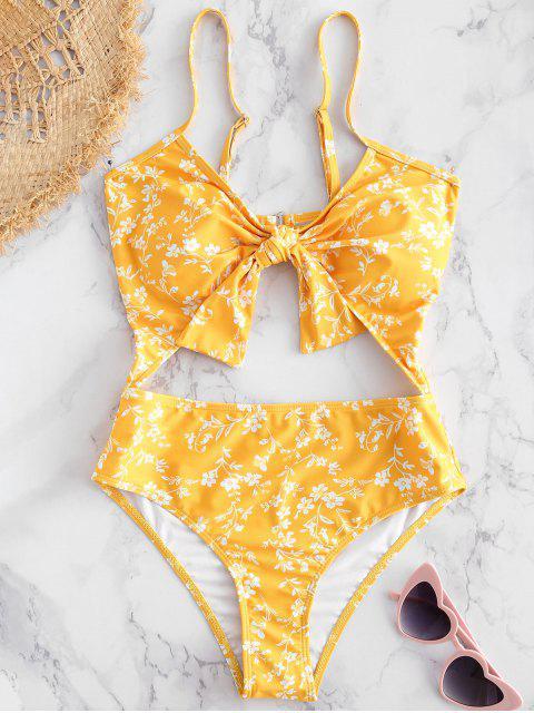 Traje de baño anudado recortable floral - Amarillo Brillante M Mobile