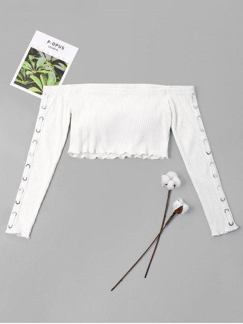 hot Off Shoulder Ripped Knit Crop Top - WHITE XL Mobile