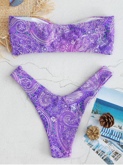 shops Printed Knots Bandeau Bikini Set - PURPLE AMETHYST L Mobile
