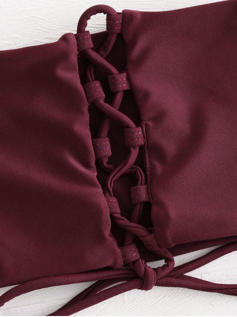 ladies Bandeau Lace-up Bikini - RED WINE L Mobile