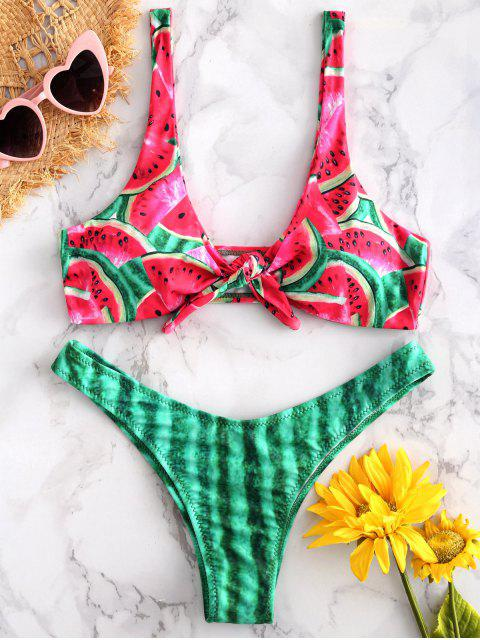 sale ZAFUL Watermelon Front Knot Bikini - RED L Mobile