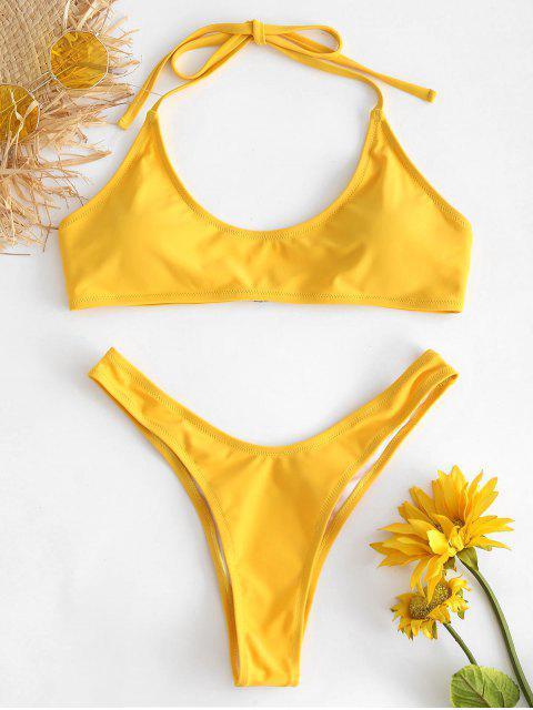 ladies High Cut Thong Bikini - RUBBER DUCKY YELLOW L Mobile