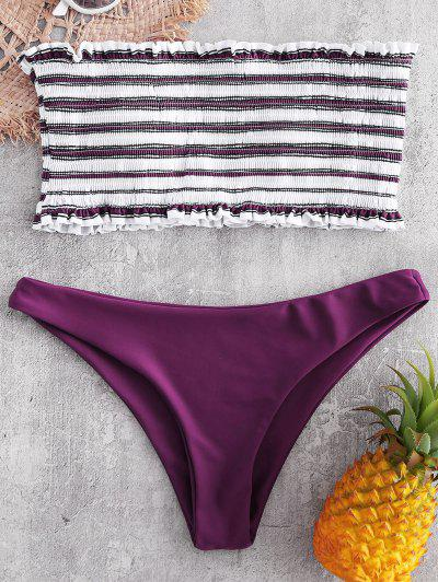 Stripe Smocked Bandeau Bikini Set - Dark Carnation Pink M