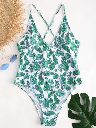 f49cd0e5c6 Palm Leaf Plus Size Swimsuit - White L ...