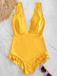 تغرق الرقبة قطعة واحدة هيم المايوه قطعة ملابس السباحة - نحلة صفراء S