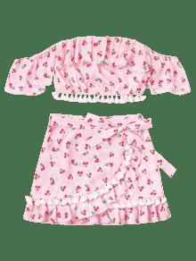Faldas Claro Borlas L Rosa De Conjunto De Cerezo Volantes Con p45g8