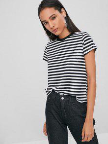 De Con Camiseta Rayas M Bolsillo Negro q0HOw8