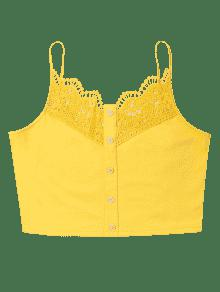 L Top Crochet Amarillo Crop Brillante Cami Encaje De xq0nqwU7T