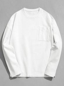 لون الصلبة جيب البلوز الصوف - أبيض L