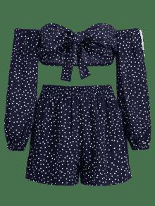 De Con Profundo S A A Dot Azul Cortos Top Pantalones Polka Juego Rayas Conjunto wE6xUX