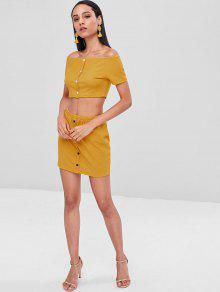 a02a32eb5 Conjunto de falda y top de hombros abotonado