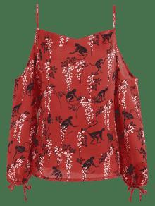 Estampado Cereza Rojo Fr Con 237;os Hombros L Top EqIwYX