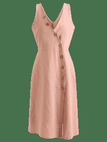 Una Vestido Midi 243;n Bot Diagonal Placket L Rosa 237;nea L xqY1t4wU