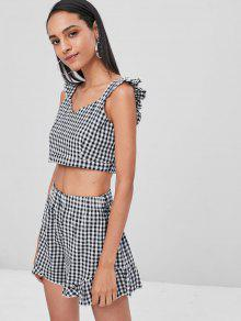 4cb566ea025b99 25% OFF  2019 Gingham Crop Top And Shorts Matching Set In MULTI