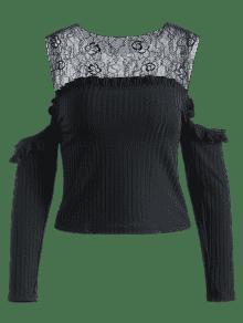 Frio Encaje Hombro De El Camiseta Negro S En Acanalada ZYSFwF