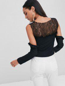 c7092bf8bba345 62% OFF] 2019 Cold Shoulder Lace Yoke Ribbed T-Shirt In BLACK | ZAFUL