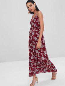 فستان ميدي بطبعات ازهار كامي المتوسط - كستنائي S
