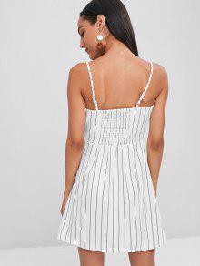 Rayas Mini Parte L Superior Con A Vestido Botones En La Blanco BERBpxP