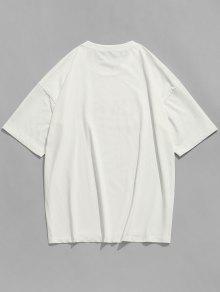 Manga De Corta Letras S Blanco Camiseta Casual FH1Rwxq