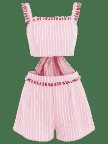 A Claro M Fringed Striped Rosa Top Juego Conjunto Shorts 8PZw0qI