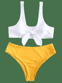 Ancha 1x Conjunto Brillante Con Bikini Tank Talla De Amarillo WznzX8fa