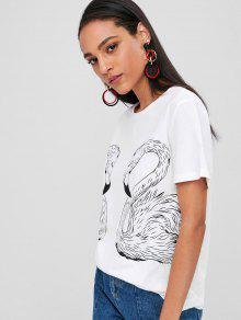 b014046d3 23% OFF] 2019 Round Neck Flamingo Graphic Tee In WHITE | ZAFUL