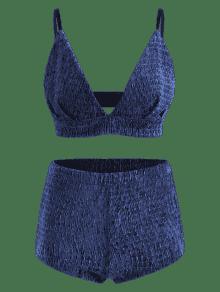 Y High Bralette De Shorts 243;n Juego M Combinaci Profundo Top Waisted Azul q55ZBa