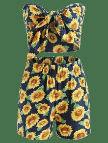 Parte Pantalones Y Cortos Delantera Sunflower Profundo De En Juego Tie Azul La Con Lazo S Top De 5nFqwz