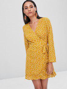 S Lunares Amarilla Con De Vestido Abeja Volantes qPYtwwE