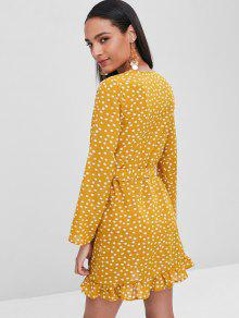 586a5bcfa1e9 32% OFF] 2019 Polka Dot Ruffles Wrap Dress In BEE YELLOW | ZAFUL