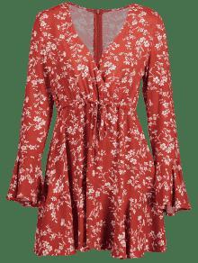 Con Acampanada Rojo Vestido De Floral o Casta S Manga Surplice qUUwd8HE