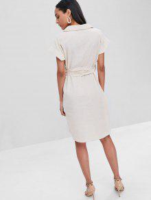 Abotonada Botones Camisa Vestido Con Blanco De C qw1wER